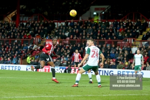 16/12/2017. Brentford FC v Barnsley FC. SkyBet Championship Football Action from Griffin Park Brentford's Romaine SAWYERS heads just wide