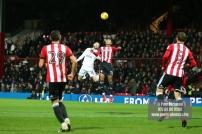 02/12/2017 Brentford v Fulham Action from the SkyBet Championship. Brentford's Ollie WATKINS & FulhamÕs Oliver NORWOOD