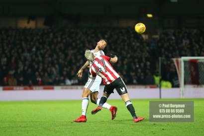 02/12/2017 Brentford v Fulham Action from the SkyBet Championship. FulhamÕs Ryan FREDERICKS & Brentford's Sergi CANOS