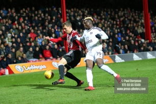 02/12/2017 Brentford v Fulham Action from the SkyBet Championship. Brentford's Andreas BJELLAND and FulhamÕs Sheyi OJO