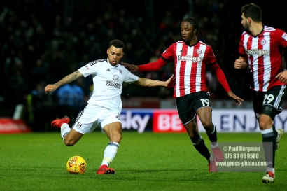 02/12/2017 Brentford v Fulham Action from the SkyBet Championship.FulhamÕs Ryan FREDERICKS & Brentford's Romaine SAWYERS