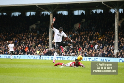 23/12/2017. Fulham v Barnsley. Action from the SkyBet Championship at Craven Cottage. FulhamÕs Aboubakar KAMARA