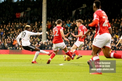 23/12/2017. Fulham v Barnsley. Action from the SkyBet Championship at Craven Cottage. FulhamÕs Sheyi OJO shoots