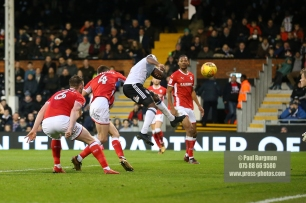 23/12/2017. Fulham v Barnsley. Action from the SkyBet Championship at Craven Cottage. FulhamÕs Tomas KALAS heads just wide