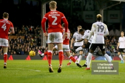 23/12/2017. Fulham v Barnsley. Action from the SkyBet Championship at Craven Cottage. FulhamÕs Floyd AYITE scores