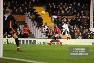23/12/2017. Fulham v Barnsley. Action from the SkyBet Championship at Craven Cottage. FulhamÕs Sheyi OJO scores