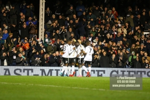 23/12/2017. Fulham v Barnsley. Action from the SkyBet Championship at Craven Cottage. FulhamÕs Sheyi OJO celebrates