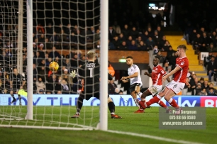23/12/2017. Fulham v Barnsley. Action from the SkyBet Championship at Craven Cottage. FulhamÕs Ryan FREDERICKS shoots just wide