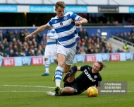 9/12/2017. Queens Park Rangers v Leeds United. Action from the SkyBet Championship QPRÕs Matt SMITH battles