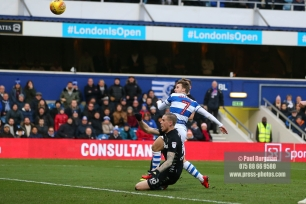 9/12/2017. Queens Park Rangers v Leeds United. Action from the SkyBet Championship QPRÕs Luke FREEMAN blazes over the bar