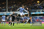 9/12/2017. Queens Park Rangers v Leeds United. Action from the SkyBet Championship QPRÕs Jake BIDWELL heads on target