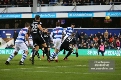 9/12/2017. Queens Park Rangers v Leeds United. Action from the SkyBet Championship QPRÕs Massimo LUONGO heads on goal