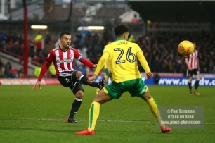 27/01/2018. Brentford FC v Norwich City. SkyBet Championship Match Action from Griffin Park. Brentford's Nico YENNARIS