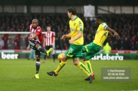 27/01/2018. Brentford FC v Norwich City. SkyBet Championship Match Action from Griffin Park Brentford's Kamohelo MOKOTJO shoots