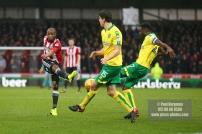 27/01/2018. Brentford FC v Norwich City. SkyBet Championship Match Action from Griffin Park Brentford's Kamohelo MOKOTJO shoots