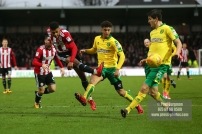 27/01/2018. Brentford FC v Norwich City. SkyBet Championship Match Action from Griffin Park Brentford's Ollie WATKINS shoots