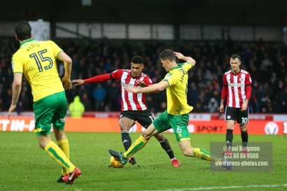 27/01/2018. Brentford FC v Norwich City. SkyBet Championship Match Action from Griffin Park. Brentford's Ollie WATKINS