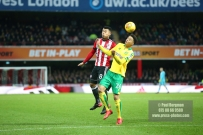 27/01/2018. Brentford FC v Norwich City. SkyBet Championship Match Action from Griffin Park. 'Brentford's Nico YENNARIS