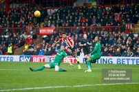 10/02/2018. Brentford v Preston North End. SkyBet Championship Match Action from Griffin Park. Brentford's Ollie WATKINS shoots wide
