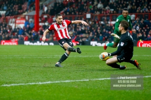 10/02/2018. Brentford v Preston North End. SkyBet Championship Match Action from Griffin Park. Brentford's Neal MAUPAY shoots