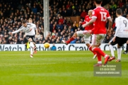 3/02/2018. Fulham v Nottingham Forrest. Match Action from the SkyBet Championship at Craven Cottage. FulhamÕs Oliver NORWOOD shoots