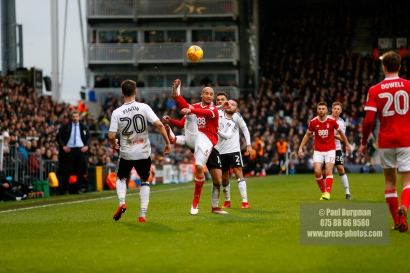 3/02/2018. Fulham v Nottingham Forrest. Match Action from the SkyBet Championship at Craven Cottage. FulhamÕs Oliver NORWOOD battles with ForestÕs Adlene GUEDIOURA