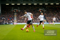3/02/2018. Fulham v Nottingham Forrest. Match Action from the SkyBet Championship at Craven Cottage FulhamÕs Lucas PIAZON backheels to FulhamÕs Ryan SESSEGNON