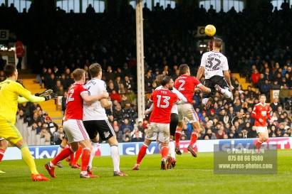 3/02/2018. Fulham v Nottingham Forrest. Match Action from the SkyBet Championship at Craven Cottage FulhamÕs Aleksandar MITROVIC heads over
