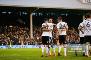 3/02/2018. Fulham v Nottingham Forrest. Match Action from the SkyBet Championship at Craven Cottage. FulhamÕs Lucas PIAZON celebrates with FulhamÕs Ryan FREDERICKS