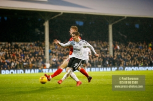 3/02/2018. Fulham v Nottingham Forrest. Match Action from the SkyBet Championship at Craven Cottage FulhamÕs Stefan JOHANSEN scores