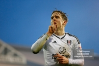 3/02/2018. Fulham v Nottingham Forrest. Match Action from the SkyBet Championship at Craven Cottage FulhamÕs Stefan JOHANSEN celebrates