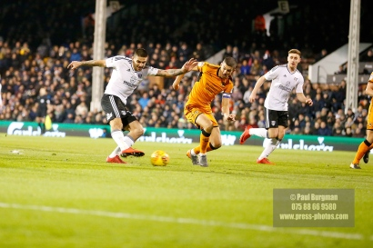 24/02/2018. Fulham v Wolverhampton Wanderers. Action from the SkyBet Championship at Craven Cottage as League leaders visit 5th place.FulhamÕs Aleksandar MITROVIC shoots