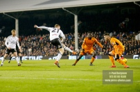 24/02/2018. Fulham v Wolverhampton Wanderers. Action from the SkyBet Championship at Craven Cottage as League leaders visit 5th place. FulhamÕs Matt TARGETT shoots