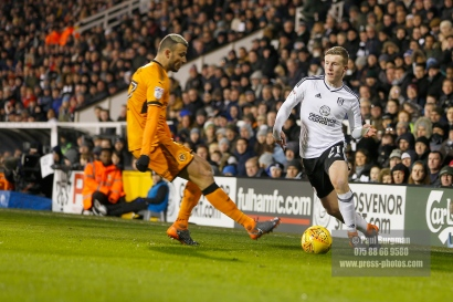 24/02/2018. Fulham v Wolverhampton Wanderers. Action from the SkyBet Championship at Craven Cottage as League leaders visit 5th place. FulhamÕs Matt TARGETT