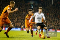 24/02/2018. Fulham v Wolverhampton Wanderers. Action from the SkyBet Championship at Craven Cottage as League leaders visit 5th place. FulhamÕs Tom CAIRNEY