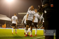24/02/2018. Fulham v Wolverhampton Wanderers. Action from the SkyBet Championship at Craven Cottage as League leaders visit 5th place. FulhamÕs Aleksandar MITROVIC celebrates