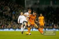 24/02/2018. Fulham v Wolverhampton Wanderers. Action from the SkyBet Championship at Craven Cottage as League leaders visit 5th place. FulhamÕs Tomas KALAS