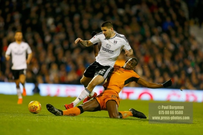 24/02/2018. Fulham v Wolverhampton Wanderers. Action from the SkyBet Championship at Craven Cottage as League leaders visit 5th place.FulhamÕs Aleksandar MITROVIC fouled by WolvesÕ Willy BOLY