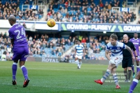 17/02/2018. Queens Park Rangers v Bolton Wanderers. SkyBet Championship Action from Loftus Road. QPR's Luke FREEMAN goes close