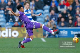 17/02/2018. Queens Park Rangers v Bolton Wanderers. SkyBet Championship Action from Loftus Road. QPR's Luke FREEMAN