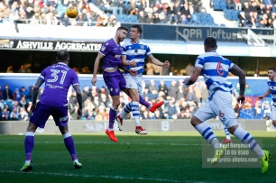 17/02/2018. Queens Park Rangers v Bolton Wanderers. SkyBet Championship Action from Loftus Road. QPR's Matt SMITH heads over