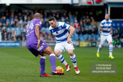 17/02/2018. Queens Park Rangers v Bolton Wanderers. SkyBet Championship Action from Loftus Road. QPR's Conor WASHINGTON