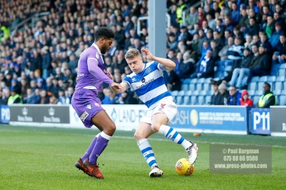 17/02/2018. Queens Park Rangers v Bolton Wanderers. SkyBet Championship Action from Loftus Road. QPR's Jake BIDWELL
