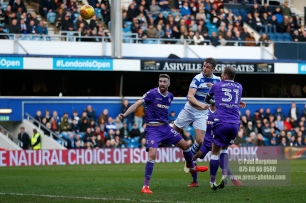 17/02/2018. Queens Park Rangers v Bolton Wanderers. SkyBet Championship Action from Loftus Road. QPRÕs Matt SMITH heads over