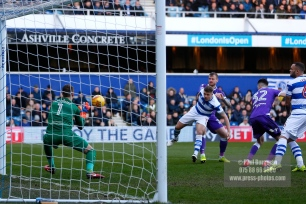 17/02/2018. Queens Park Rangers v Bolton Wanderers. SkyBet Championship Action from Loftus Road. QPRÕs Goalkeeper Alex SMITHIES saves