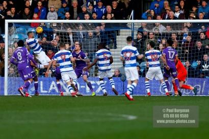 17/02/2018. Queens Park Rangers v Bolton Wanderers. SkyBet Championship Action from Loftus Road. QPRÕs Joel LYNCH scores