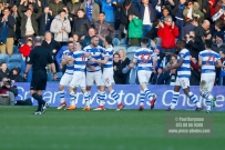 17/02/2018. Queens Park Rangers v Bolton Wanderers. SkyBet Championship Action from Loftus Road. QPRÕs Joel LYNCH celebrates