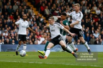 14/04/2018. Fulham v Brentford. SkyBet Championship Action from Craven Cottage. Brentford's Ollie WATKINS & FulhamÕs Matt TARGETT battle
