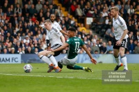 14/04/2018. Fulham v Brentford. SkyBet Championship Action from Craven Cottage. Brentford's Ollie WATKINS & FulhamÕs Matt TARGETT battle