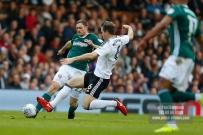 14/04/2018. Fulham v Brentford. SkyBet Championship Action from Craven Cottage. Brentford's Henrik DALSGAARD & FulhamÕs Kevin MCDONALD